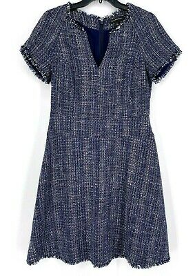 BANANA REPUBLIC 8 WOMEN'S BLUE TWEED SSL DRESS
