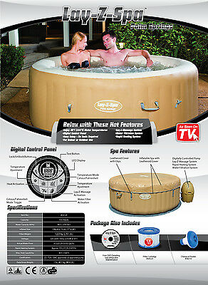 2017 LAY Z SPA PALM SPRINGS INFLATABLE PORTABLE HOT TUB JACUZZI 4-6 PERSON NEW
