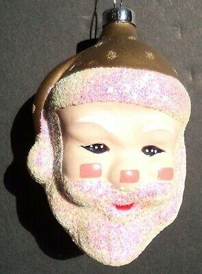 Vintage Glass Santa Head Ornament- 3 1/2