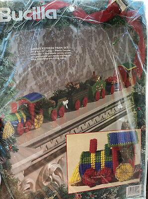 Bucilla Santa's Express Train Set Needlepoint Plastic Canvas Kit 61282 Christmas