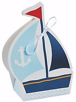 12 NAUTICAL SAILOR TREAT BOXES SAILBOAT NEW Nautical Favors Birthday Baby Shower - Nautical Baby Shower Favors