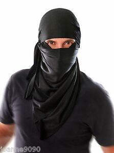 New Mens Adult Ninja Warrior Black Cloth Hood Headpiece Fancy Dress Costume Mask