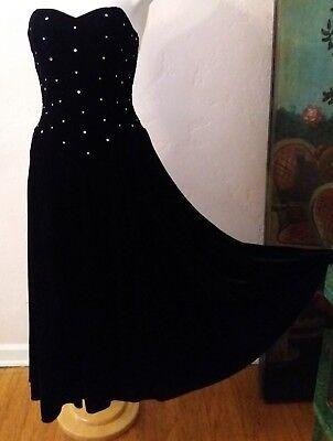 Vtg RHINESTONE BODICE Black VELVET STRAPLESS DRESS Prom Party Gown FULL SKIRT -