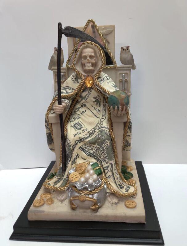 """10"""" Inch Santa Muerte / Holy Death Statue In Money Suit Made Of Resin"""