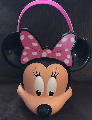 Minnie Mouse Candy Toy Bucket Pail Disney Halloween Trick Or Treat Plastic  - Minnie Mouse Trick Or Treat Bucket