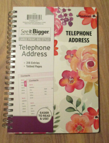 SEE-It-BIGGER PINK FLOWERS TABBED Telephone ADDRESS SPIRAL BOOK LARGE PRINT A-Z