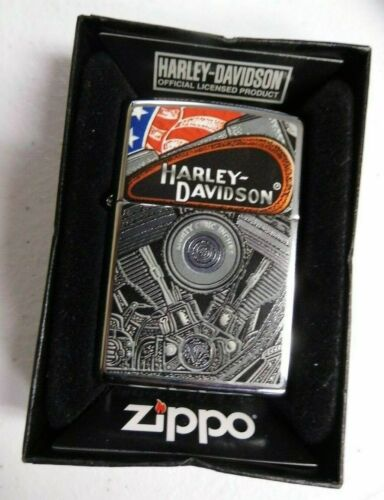 Harley Davidson Motorcycle Patriotic Engine Zippo Lighter - Cool!