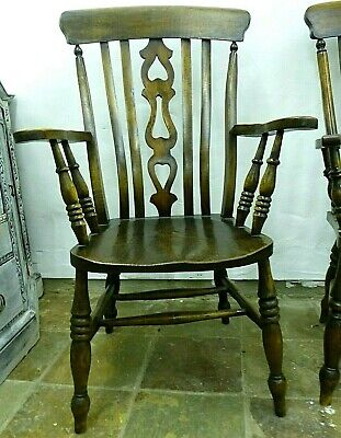 Farmhouse  Wooden Carver Chairs. His .Fiddle Back & Hers Slatted .Spindles.PAIR.