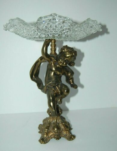 Vintage Brass Pedestal Cherub Statue With Compote Cut Crystal Plate