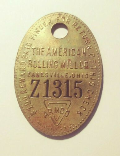 ARMCO The American Rolling Mill Co Tool Check Tag Zanesville OH (#O-35)