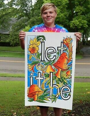 Very Rare NOS Vintage 1971 Let it Be Hippy Poster Marijuana Beatles Peace Love!