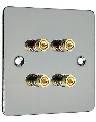 Speaker Wall Plate Dual / Bi Wire Gold 4 Binding Posts Ultra Slim Black Nickel Gold Dual Wall Plate