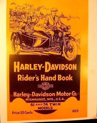 1929 Harley-Davidson Rider's Hand Book For 61 & 74 Twin Models -Illustrated