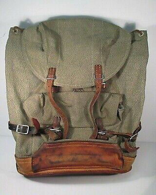 Vintage 1972 Swiss Army Military Backpack Rucksack  Salt and Pepper Canvas afa58c6271012
