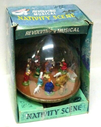 Vintage 1960 Ohio Art #330 Revolving Musical Nativity Globe w/Original Box-TLC