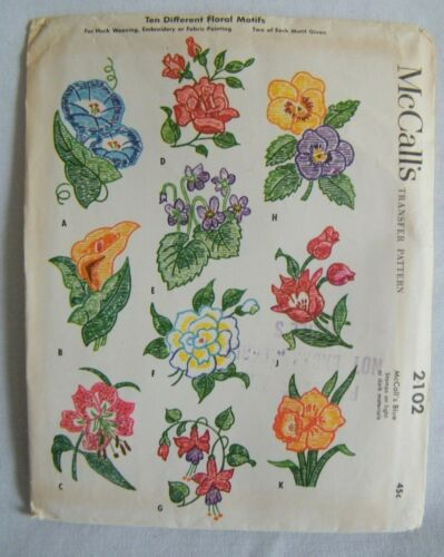 Vintage McCall 2102 Transfer Patterns - Floral Motifs - UNCUT - from 1956