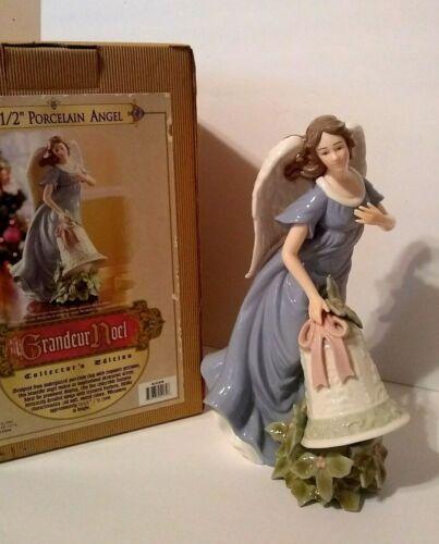 """Grandeur Noel 12 1/2"""" Porcelain Christmas Angel With Bell, 2003, EUC"""