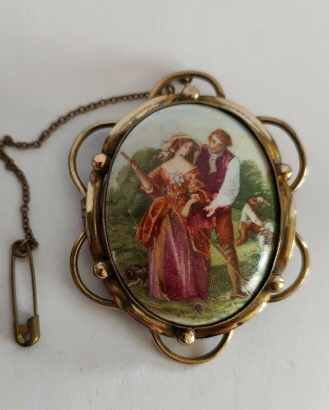 Antique Victorian Pinchbeck tile brooch