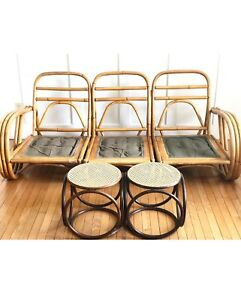 Vintage rattan couch, bamboo chairs, boho decor