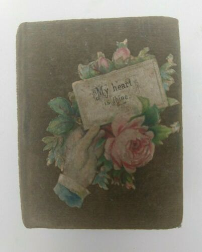 ANTIQUE VICTORIAN VELVET & PAPER BOOK-SHAPED BOX GIFT JEWELRY TRINKET 1870-1880