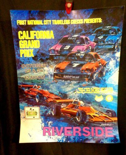 Vintage CALIFORNIA GRAND PRIX RACE CAR AD POSTER Riverside IROC Camaro Ferrari