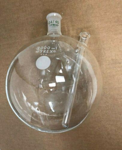 Pyrex Boiling Flask w/ 2 necks 2000 mL Chemistry Lab Glassware