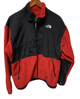Vintage North Face Denali Fleece Jacket in Red & Black Size Large