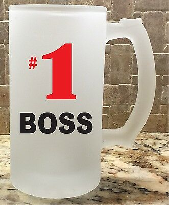 Frosted Glass Beer Mug Stein 16oz #1 Boss Great Gift For Him Fathers Day