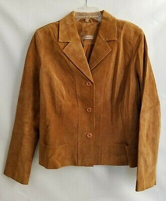 i.e. Suede Leather Jacket Womens Camel Button Front Lined Size L