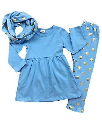 Children Clothing Boutiques (Toddler Girl Blue Gold Polka Dot Scarf Leggings Boutique Outfit Kids)