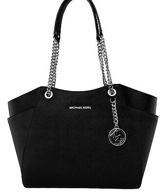 4221ff95843d4 MICHAEL KORS TASCHE BAG JET SET TRAVEL LG CHAIN TOTE Leder schwarz