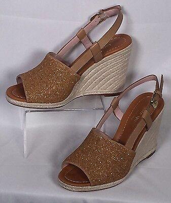 Kate Spade Beacon Gold Glitter Espadrilles Wedge Sandals 10 NEW