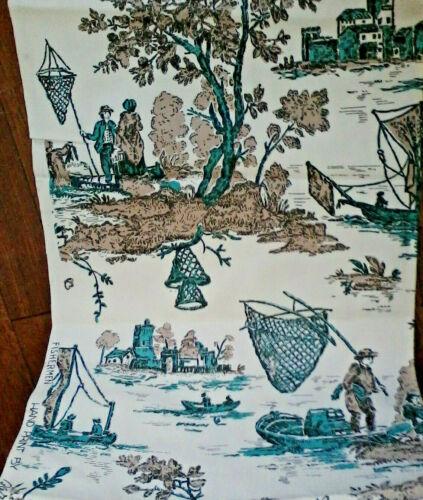 "Vtg fabric bulk Fishermen hand print Barret colonial basket fishing 255"" x 37"""