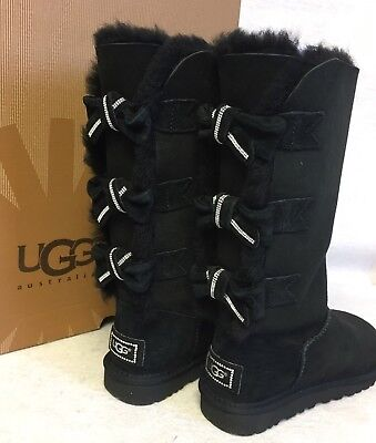 Bow Ugg Boots (Ugg Australia Amelie Black Crystal Bow Boots Tall Classic RARE Bling)