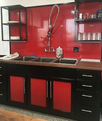 .025 Red Painted Diamond Plate Sheet - 48 X 96 4x8