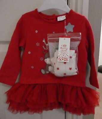 F&F Fred & Florence Christmas RED Reindeer Rara Dress & Tights Age 6 - 9 months