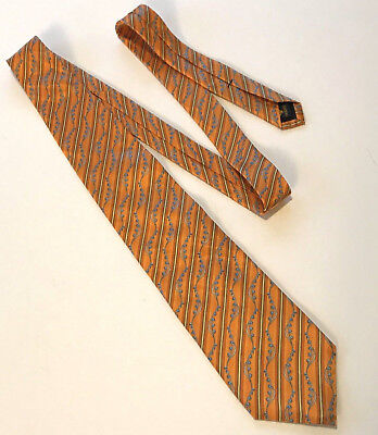 Used, Faberge Mens Tie Orange Blue Floral 100% Silk Long Wide Dress/Career for sale  Lavaca