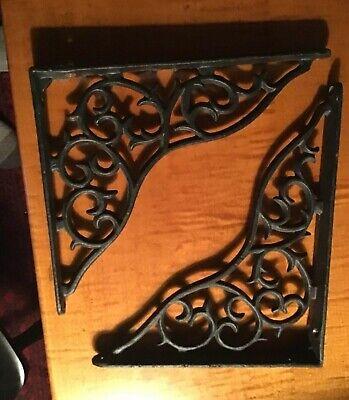 "Pair Antique Cast Iron Shelf Brackets Hardware Mounts Fancy Heavy 10 1/2"""