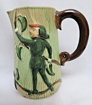 Vintage Japanese Majolica Hand Painted Pottery Water Pitcher #5