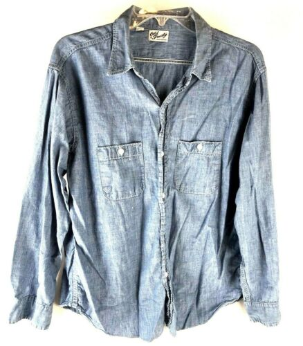 Vtg Old Trusty sanforized chambray denim LS shirt 16 1/2 Rockabilly grunge