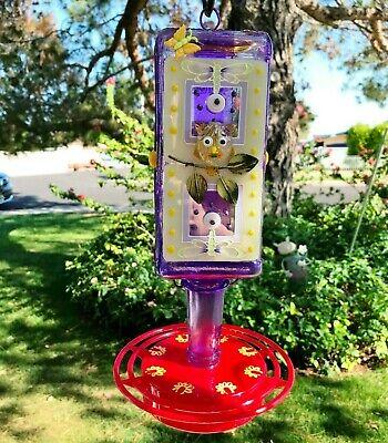 Hummingbird feeder, Glass, Purple, Owl, 32 oz, Bird feeder, Lord Calvert Bottle