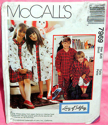 Uncut McCalls Girl Boy Child 5-6 Nightshirt Pajama Pants Top & Robe Pattern 7969