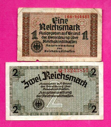 GERMANY LATVIA LOT OF 4 BANKNOTES Reichsmark 1940-45 EAGLE W/H SWASTIKA 308