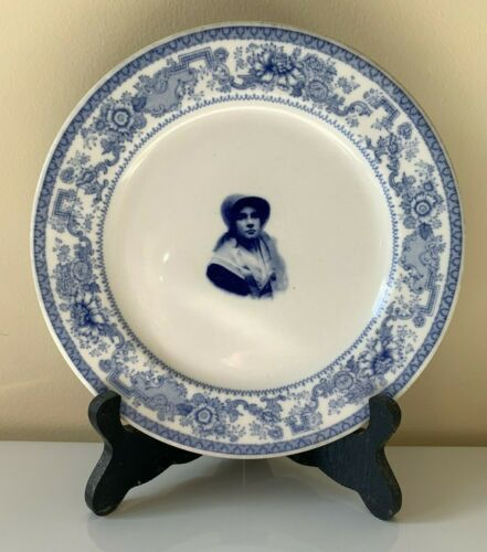 Syracuse China Plate Shaker Heights OH Country Club Woman Girl Bonnet Shawl Blue