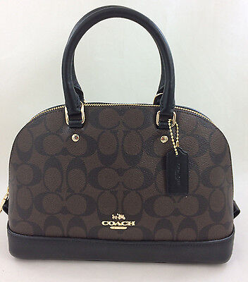 New Coach F58295 F27583 mini Sierra Signature Satchel Shoulder Bag Brown/Black