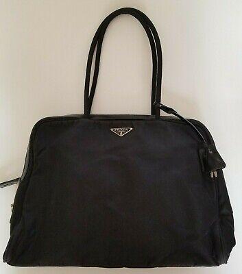 Auth Vintage Prada black nylon leather tessuto hand tote shoulder bag w/Lock Key
