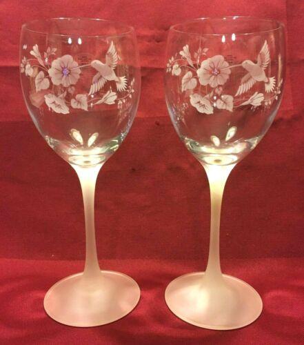 Hummingbird 24% Lead Crystal Elegant Wine Water Goblets Glasses One Pair FRANCE