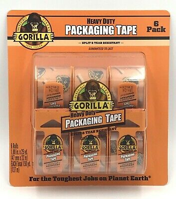 Gorilla Heavy Duty Clear Packing Tape 6 Pack 1.88 X 25 Yards Dispenser