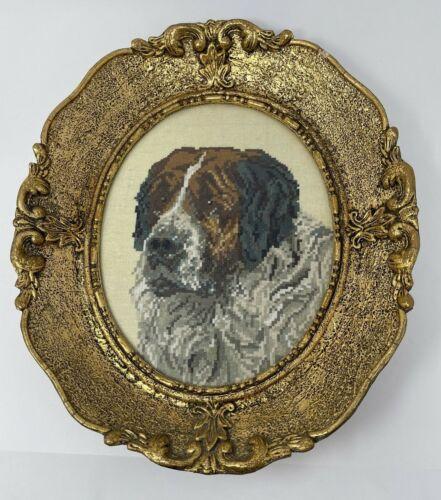 St Bernard Dog Needlepoint Framed Picture Gold Oval vintage 1976 petit point