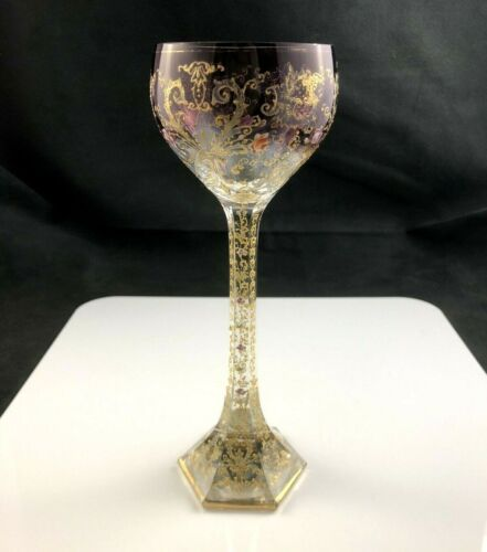 "🟢 STUNNING Antique MOSER Amethyst Gold Enamel 7 7/8"" Wine Art Glass Ornate Stem"